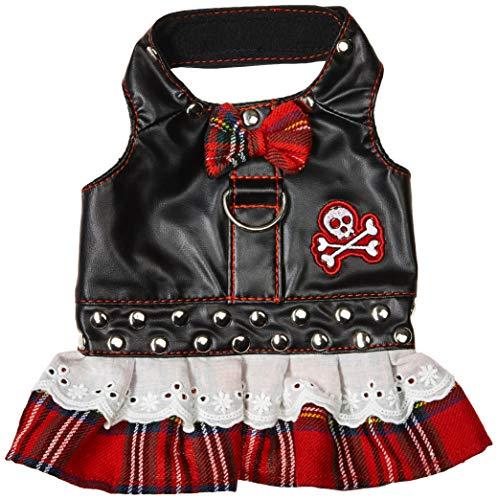 Doggles Xxs Harness - Doggles Dress Biker Plaid Harness, Red, XX-Small