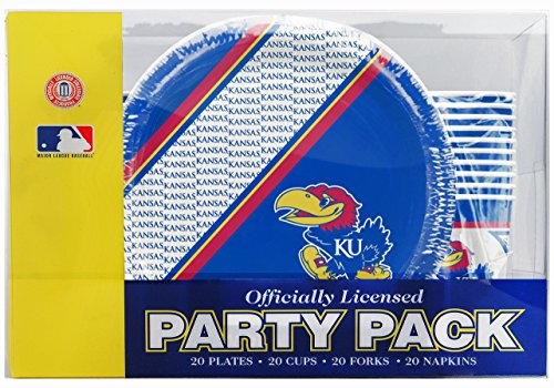 NCAA Kansas Jayhawks Disposable Party Pack (Plates, Cups, Forks, Napkins) ()