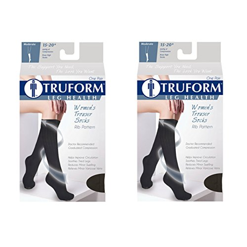 Truform Compression for Women 15-20 mmHg Socks Brown Rib Pattern, Small, 2 Count