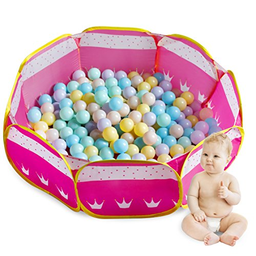 Future Founder Pink Toddler Ball Pit - Pop Up Ball Play Tent - Portable Fun Ball Pit Pool With Two Zippered Storage Bags For Toddlers - Balls Not Included -