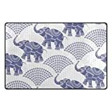 Vantaso Decorative Elephant Pattern Blue Soft Foam Door Mat for Children Non Skid Game Area Rugs Kids Bedroom Playroom Nursery Decor 31 x 20 inch