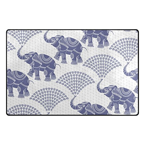 Vantaso Decorative Elephant Pattern Blue Soft Foam Door Mat for Children Non Skid Game Area Rugs Kids Bedroom Playroom Nursery Decor 31 x 20 inch by Vantaso