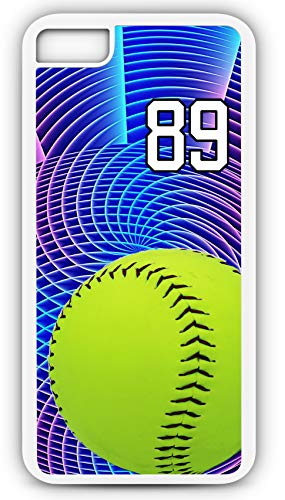 iPhone 6 Plus 6+ Phone Case Softball S049Z by TYD Designs in White Rubber Choose Your Own Or Player Jersey Number 89