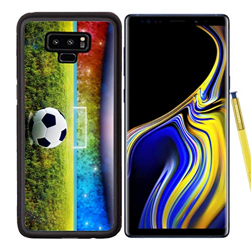 Luxlady Samsung Galaxy Note 9 Case Aluminum Backplate Bumper Snap Cases Soccer Ball on Penalty Disk in The Stadium Image ID 7127177