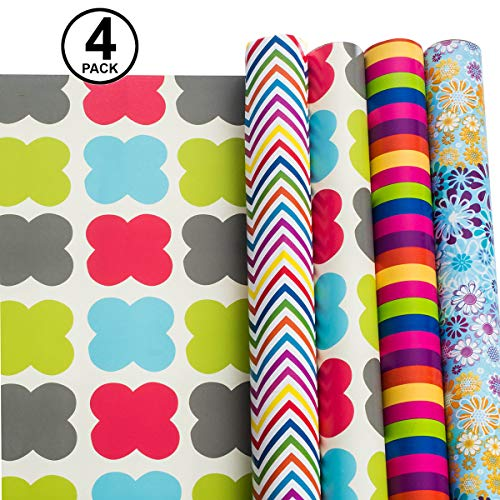Gift Wrapping Paper - All Occasion Wrapping Paper - Wrapping Paper - Premium Gift Wrap, 4 Rolls - 2.5 ft x 10 ft per Roll, Includes 7 Bows, 2 Rolls ()