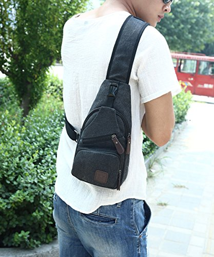 Canvas Chest Pack Crossbody Casual Sling Shoulder Bag(502) (black) by STIUCCE (Image #7)