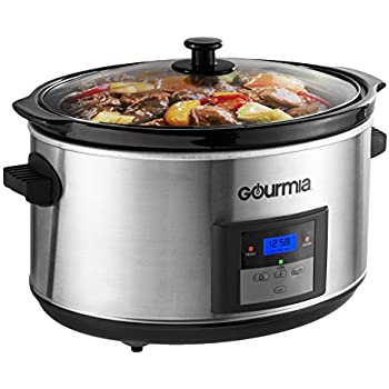 Gourmia DCP-860 SlowSmart 8.5 quart Digital Slow Cooker with Multiple Programmable Modes & Cool Touch Handles, Oval, Stainless Steel, Silver