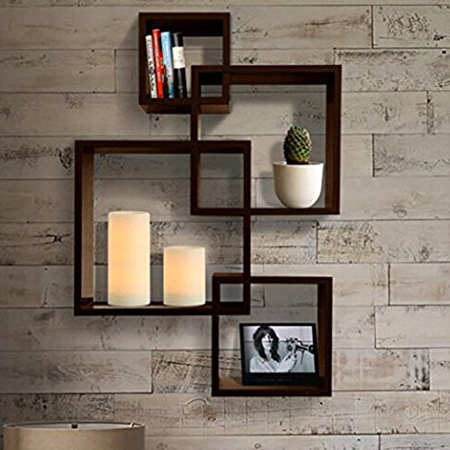 Shelving Solution Intersecting Decorative Wall Shelf Set of 4, 2 Candles Included (Espresso) - http://coolthings.us