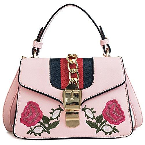 Meaeo Bolso Bandolera Floral Bordado Bolso Simple Y Versátil, Negro Pink