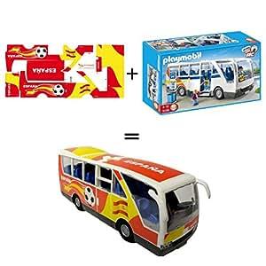 Pack Playmobil 5106 Autobus Escolar + Stickers Adhesivos de Playmyplanet Fútbol España Compatibles con Playmobil bus 5106, 5025, 4419, 5603 Y 3169