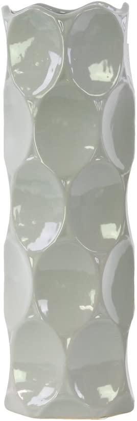 Urban Trends Ceramic Round Cylindrical Vase with Dimpled Sides and LG Gloss Finish, Gray