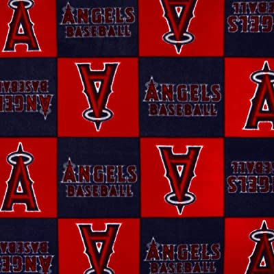 MLB Fleece Los Angeles Angels of Anaheim Blocks Red Fabric By The Yard