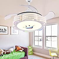 COLORLED 4 Blades Ceiling Fans Kids-42 Inch Smile Face Fan Chandelier With Modern Simple Style-for Childrens Room, Bedroom and Living Room