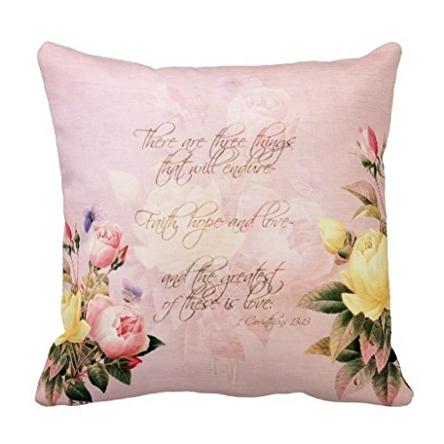 Vincent Vivi Brown Faith Hope And Love Roses Throw Pillow Case