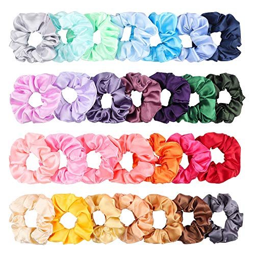 - WATINC 28Pcs Silk Satin Hair Scrunchies Set for Women, Strong Elastic Hair Bobbles for Ponytail Holder, Colorful Hair Accessories Ropes Scrunchie, Solid Color Traceless Hair Ties