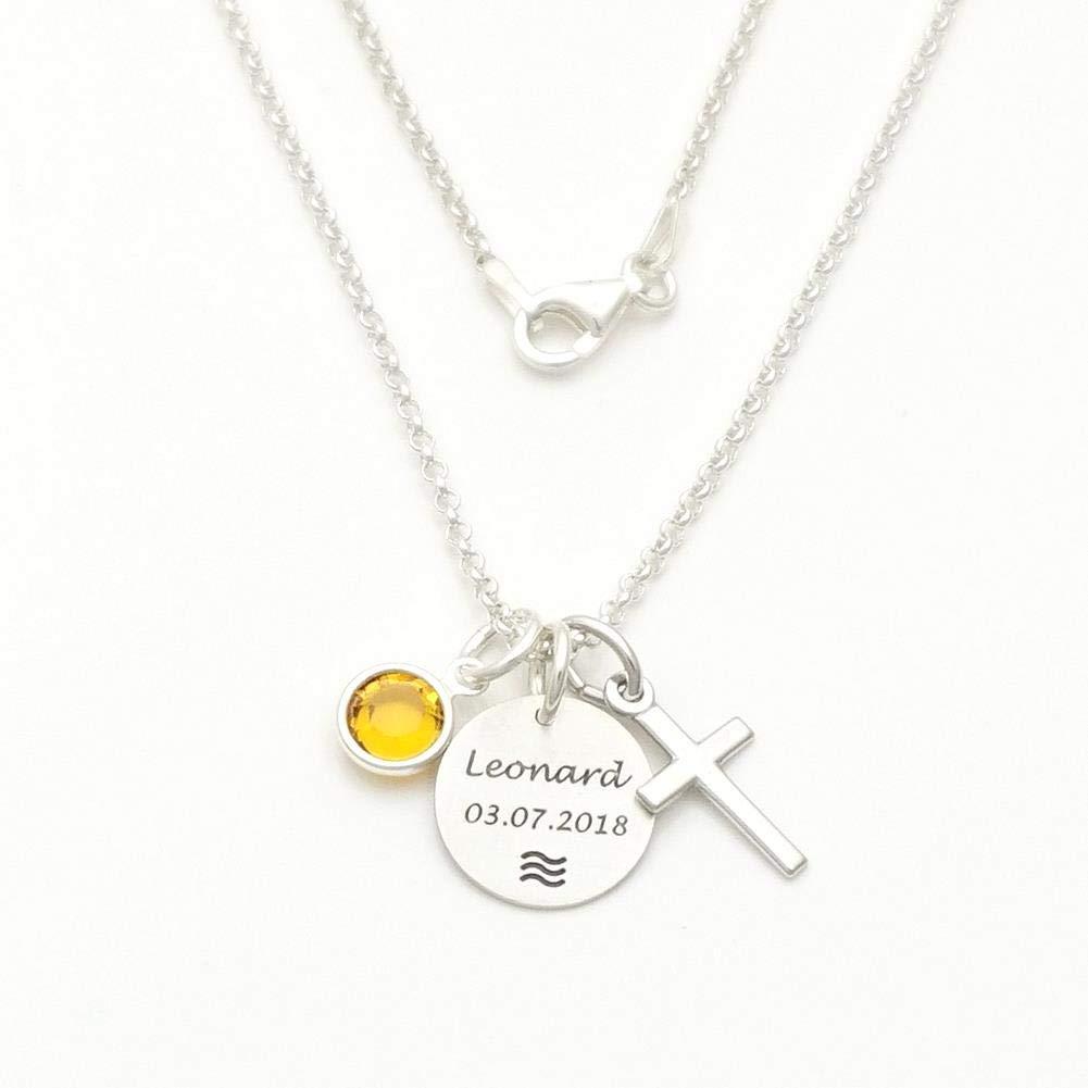 Baby//Taufe//Kommunion-Kreuz Anhänger mit Kette-Silber925-Made in Germany-Gravur//2