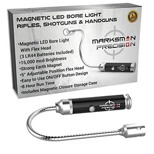Marksman Precision Magnetic LED Bore Light | Hunting Shooting Rifle Pistol Handgun Shotgun Tactical | 5 Inch Flex Head | Bright 15,000 mcd | 8 Hour Run Time | Aluminum Barrel | Protective Storage Case