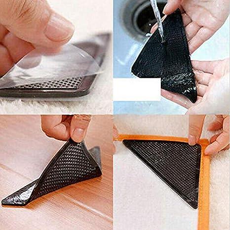 3X 4Pcs//Set Silicone Bath Carpet Pad Anti-Slip Table Door Stick Floor Mat R S2Z5