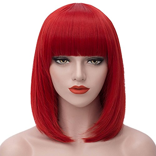 Beauty : ELIM Short Bob Red Hair Wigs for Women with Bangs Heat Resistant Yaki Synthetic Hair (Red) Z100