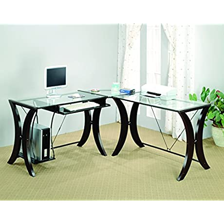 Coaster L Shape Home Office Computer Desk Cappuccino Finish Base Glass Top