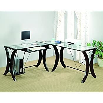 Amazoncom Coaster L Shape Home Office Computer Desk Cappuccino
