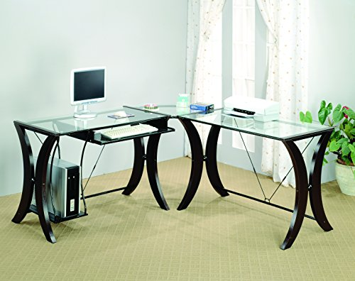 Monterey 3-piece L-Shape Computer Desk Set Cappuccino and Clear 3 Piece Glass Desk