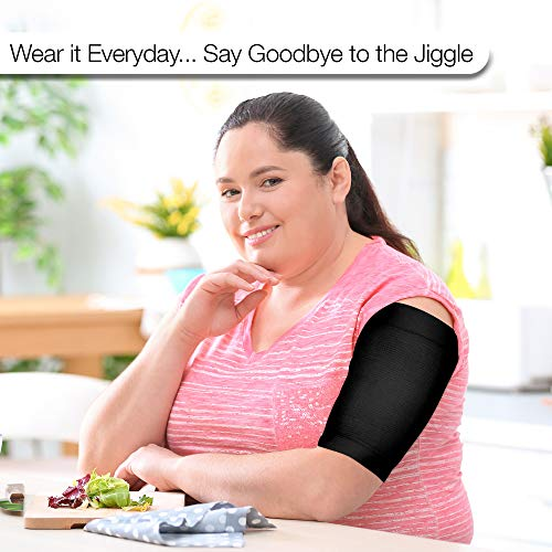 Arm Shapers For Women - Upper Arm Compression Sleeve To Help Tone Arms - Slimming Arm Wraps For Flabby Arms - Helps Shape Upper Arms Ideal For Plus Size Women - 2 Pairs Black 2