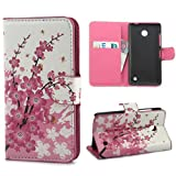 Yakamoz PU Leather Pink Sakura Flip Wallet Card Slots Stand Case Cover for Nokia Lumia 630 (Not Fit for Smooth Back Cover Version) with Free Screen Protector & Stylus Pen