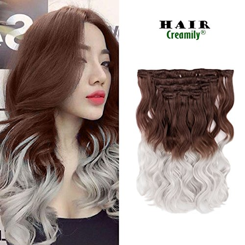 Creamily 8 Pieces Long Body Wavy 20 Inch Wavy Brown to Silver Grey 3-tone Ombre Hair Extensions Color Dip Dye Clips in Weave Bundles for - Creamily