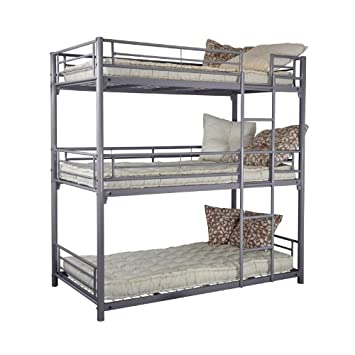 Trios 3 Level Bunk Bed 90 X 190 Cm Metal Silver 99x200x204