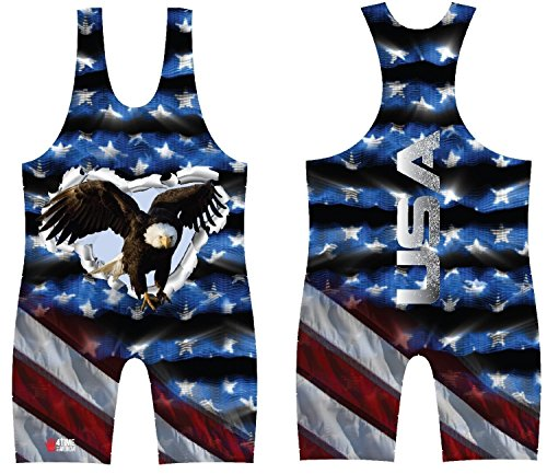 4-Time All American USA Eagle Sublimated Wrestling Singlet: size 2XL ()