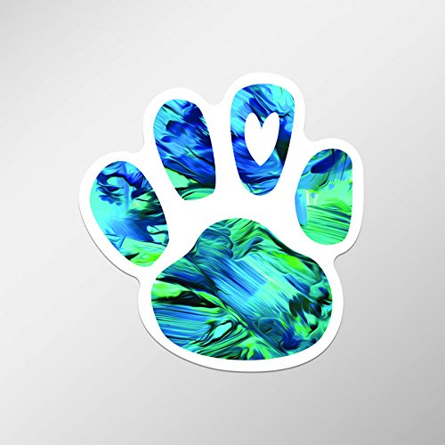 Dog Paw Print Heart Love Vinyl Decal Sticker for Chromebooks, Macbooks, Car, Truck | 2-Pack | 3.75-Inches by 3.75-Inches | UV Resistant Laminate | Premium Quaility Stickers | PD631
