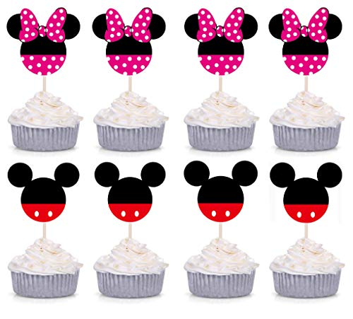 Set of 24 Pieces Cute Mickey Minnie Mouse Cupcake Toppers Kids Birthday Party Cake Decoration Supplies -