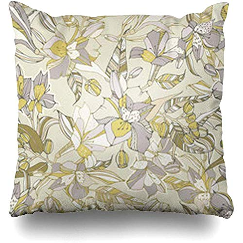 Throw Pillow Case Pattern Tropical Peruvian Lilies Eucalyptus Alstroemeria Nature Blossom Bouquet Flora Decor Home Pillow Cover Square Size 18 x 18 Inches Pillowcase