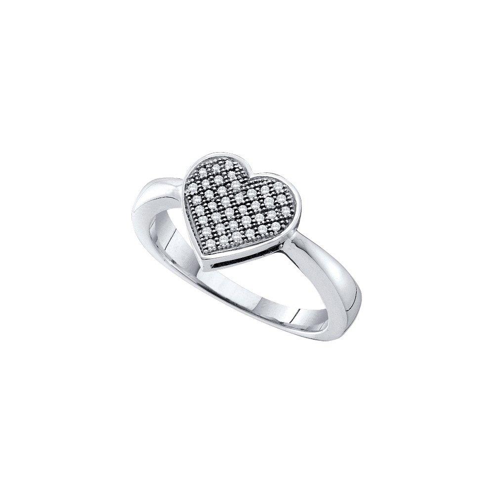 10kt White Gold Womens Diamond Heart Love Cluster Ring 1/10 Cttw (I2-I3 clarity; J-K color)