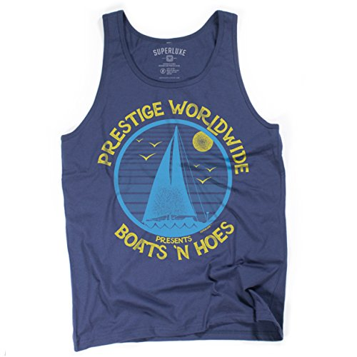 Superluxe Clothing Mens/Unisex Boats N Hoes Prestige Worldwide Funny Step Brothers Sailing Tank Top, Small, Navy