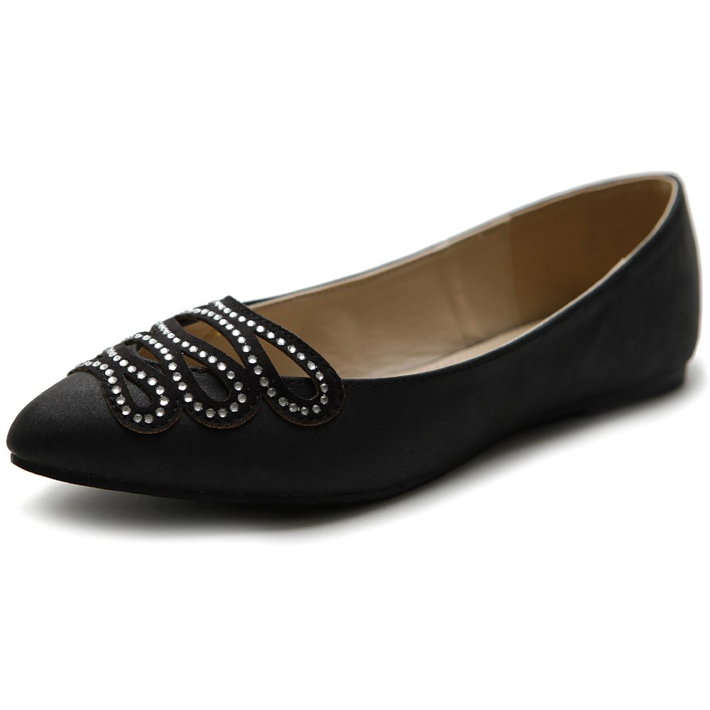 Ollio Women's Shoe Ballet Infinity Rhinestone Pointed Toe Flat B00I8XPFKQ 6 B(M) US|Black