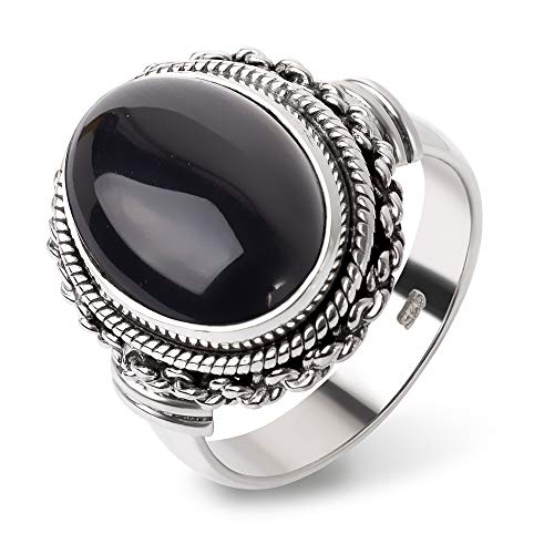 SUVANI Sterling Silver Natural Black Onyx Gemstone Double Rope & Chain Edge Band Ring Size 7