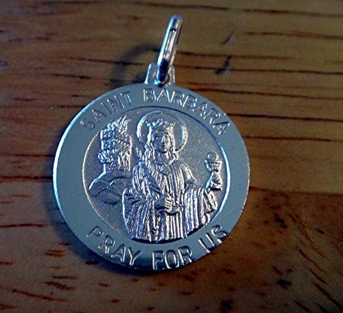 Sterling Silver 19mm Religious Saint St. Barbara Medal Charm Vintage Crafting Pendant Jewelry Making Supplies - DIY for Necklace Bracelet Accessories by CharmingSS ()