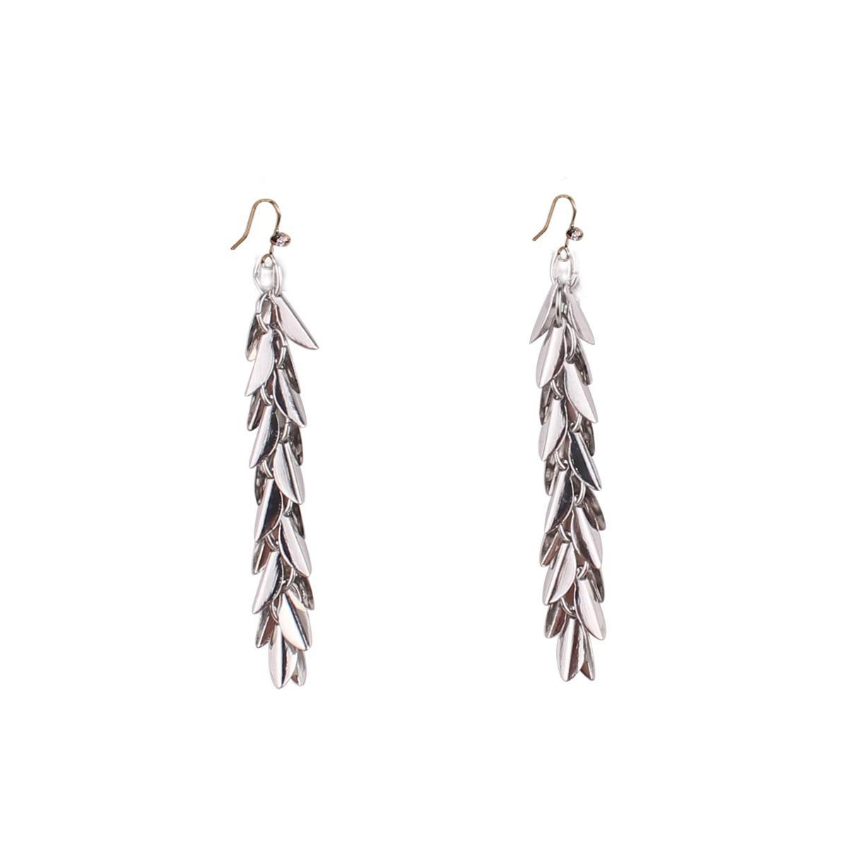 Grace Jun Silver Plated CZ Rhinestone Long Tassel Drop Earrings and Clip on Earrings No Pierced for Women China XHEJ247