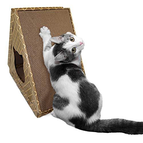 - FurHaven Pet Cat Scratcher | Tiger Tent Corrugated Cat Scratcher House w/ Catnip, Tan, One Size