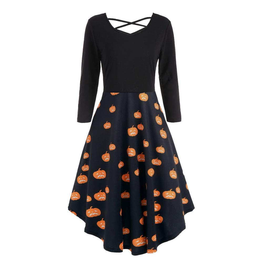 UONQD Women Long Sleeve Hollow Halloween Bat Print Flare Dress Party Dresses (X-Large,Black-1)