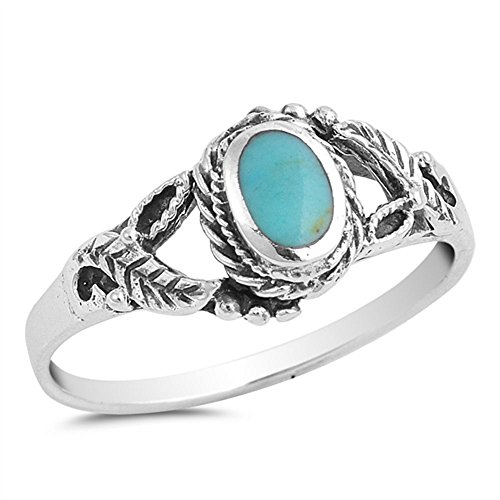 al Center Simulated Turquoise Leaf Design Ring Sterling Silver 925 Size 10 ()