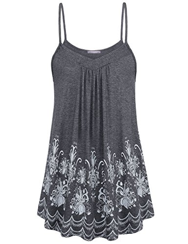 Womens Flowy Tank Summer Womens Tops Casual Sleeveless Floral Dressy Tank Tops V Neck A Line Pleated Floral Printed Flowy Tunic for Summer(Large,Dark Grey) ()
