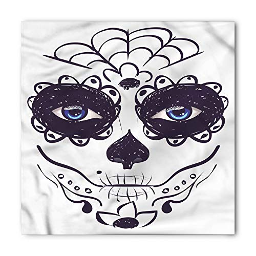 Ambesonne Unisex Bandana, Day Of The Dead Mask Make up Girl, White Black