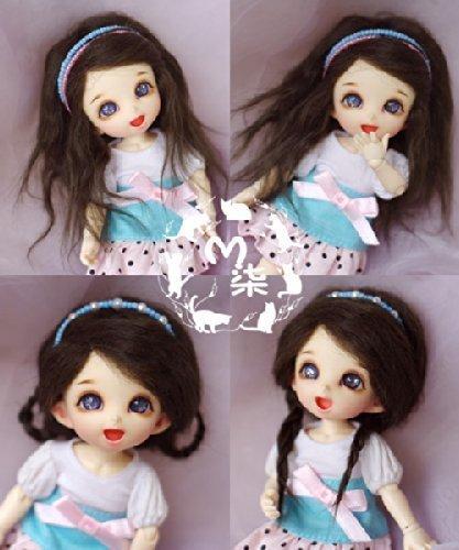 4-5inch(12-13cm): 1/12 BJD Kurhn Fur Wig Dollfie, AE PukiFee lati, Seaweed Green Long Curl (Doll Fur Wig)