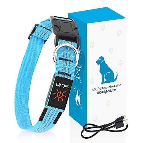 PZRLit LED Dog Collar Light-USB Rechargeable, Adjustable Nylon Webbing Light Up Dog Collars Super Bright, Safety Reflective Puppy Collar, Water Resistant Glow in the Dark Pet Collars-Blue, Large