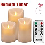 "Flameless Candles 4"" 5"" 6"" Set of 3 Ivory Dripless Real Wax Pillars Include Realistic Dancing LED Flames and 10-key Remote Control with 24-hour Timer Function-Antizer"