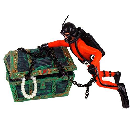Generic Aquarium Ornament Finding Treasure Action-Air Jewel-box Collection Fish Tank 0-65 Orange