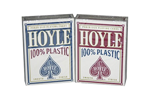 HOYLE RED & BLUE POKER SIZED 100% PLASTIC PLAYING CARDS, 2 DECK SET